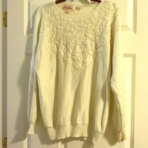 Sweaters - Vintage snowy white sparkly chic holiday sweater